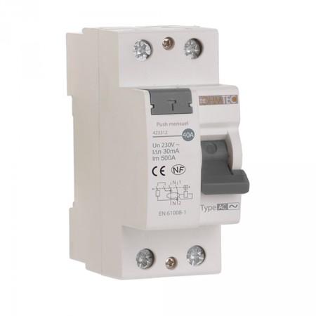 Interrupteur différentiel 30 mA 1 P + N 63A type AC Ohmtec